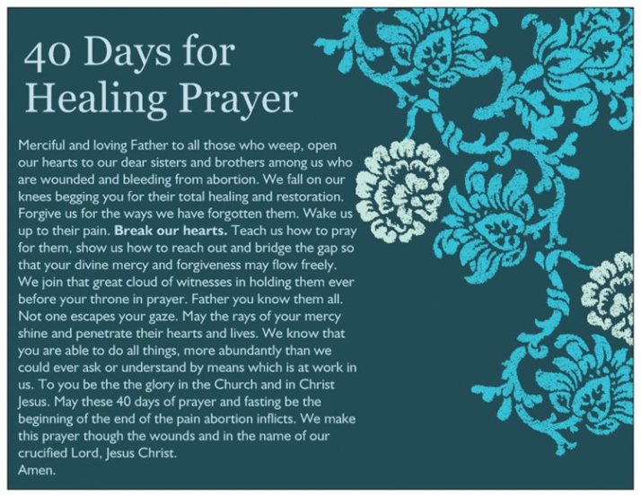 Prayer and image from the 40 Days for Healing the Wounds From Abortion website